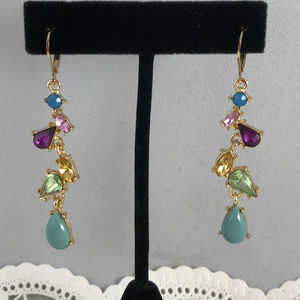 Colorful Lab Crystals Blue Drop Dangle Earrings